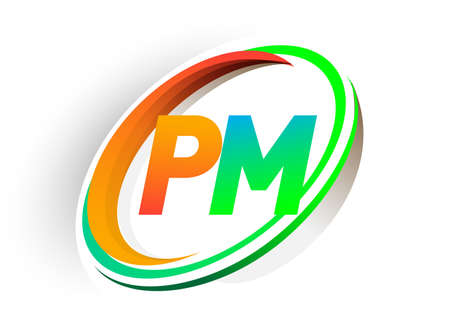 initial letter PM logotype company name colored orange and green circle and swoosh design, modern logo concept. vector logo for business and company identity.