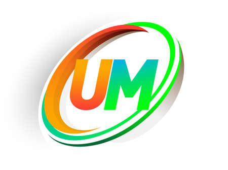 initial letter UM logotype company name colored orange and green circle and swoosh design, modern logo concept. vector logo for business and company identity.