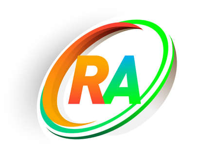 initial letter RA logotype company name colored orange and green circle and swoosh design, modern logo concept. vector logo for business and company identity. Logo