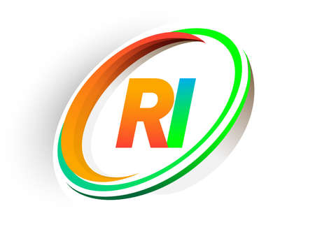 initial letter RI logotype company name colored orange and green circle and swoosh design, modern logo concept. vector logo for business and company identity.