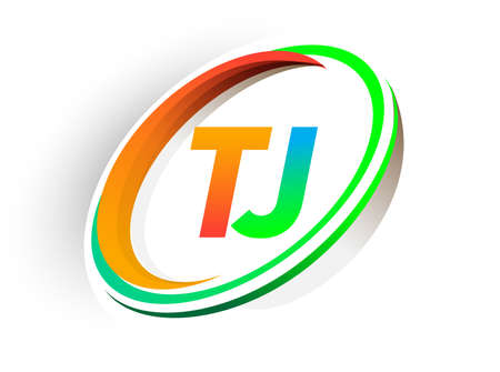 initial letter TJ logotype company name colored orange and green circle and swoosh design, modern logo concept. vector logo for business and company identity.