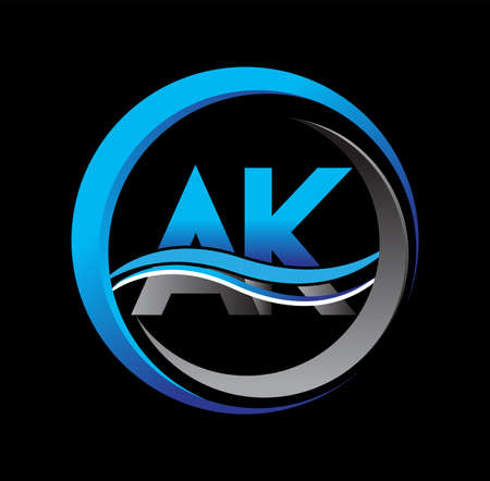 initial letter logo AK company name blue and grey color on circle and swoosh design. vector logotype for business and company identity.