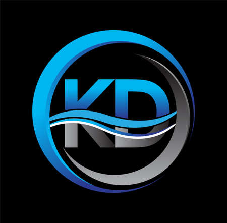 initial letter logo KD company name blue and grey color on circle and swoosh design. vector logotype for business and company identity.
