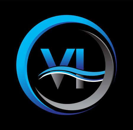 initial letter VI company icon blue and grey color on circle and swoosh design. vector icon for business and company identity. Vektoros illusztráció