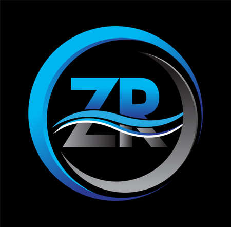 initial letter logo ZR company name blue and grey color on circle and swoosh design. vector logotype for business and company identity.