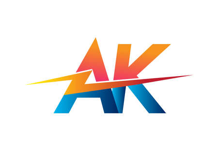 Letter AK logo with Lightning icon, letter combination Power Energy Logo design for Creative Power ideas, web, business and company. Logo