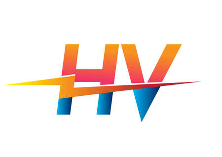 Letter HV logo with Lightning icon, letter combination Power Energy Logo design for Creative Power ideas, web, business and company.