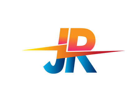 Letter JR logo with Lightning icon, letter combination Power Energy Logo design for Creative Power ideas, web, business and company.