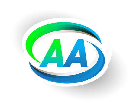 initial letter AA logotype company name colored blue and green swoosh design, modern logo concept. vector logo for business and company identity.
