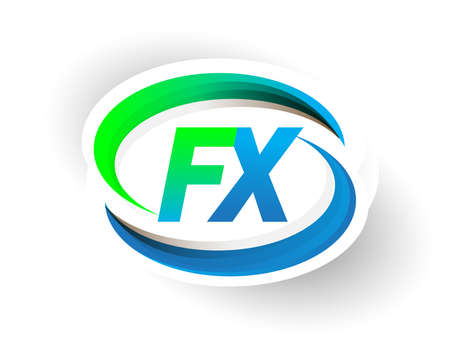 initial letter FX logotype company name colored blue and green swoosh design, modern logo concept. vector logo for business and company identity.