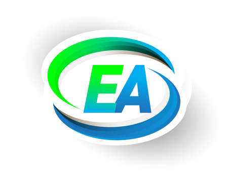 initial letter EA logotype company name colored blue and green swoosh design, modern logo concept. vector logo for business and company identity.