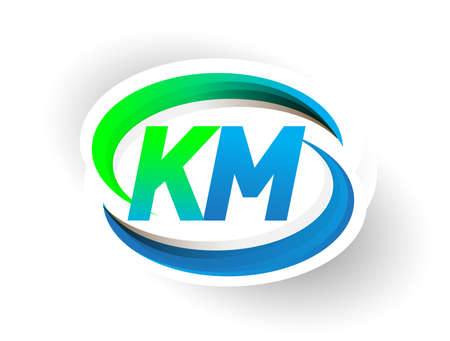 initial letter KM logotype company name colored blue and green swoosh design, modern logo concept. vector logo for business and company identity.