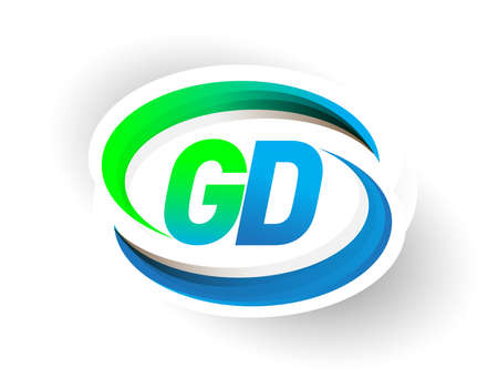 initial letter GD company name colored blue and green swoosh design, modern concept. vector for business and company identity.