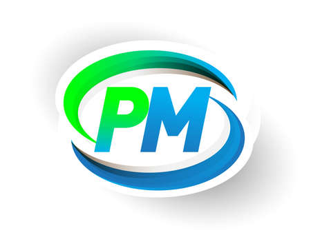 initial letter PM logotype company name colored blue and green swoosh design, modern logo concept. vector logo for business and company identity.