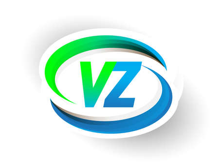 initial letter VZ logotype company name colored blue and green swoosh design, modern logo concept. vector logo for business and company identity.
