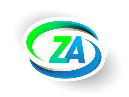 initial letter ZA logotype company name colored blue and green swoosh design, modern logo concept. vector logo for business and company identity.