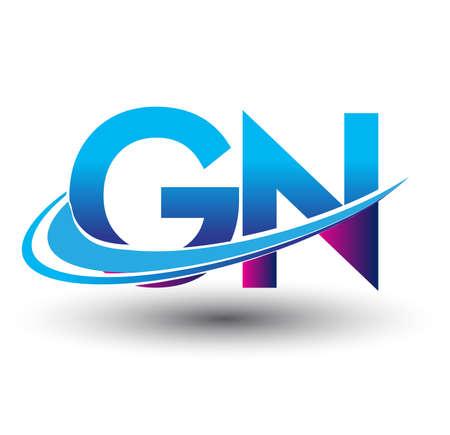 initial letter GN logotype company name colored blue and magenta swoosh design. vector logo for business and company identity. Illusztráció