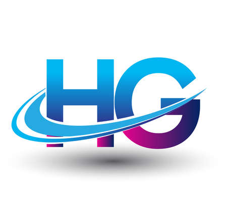 initial letter HG logotype company name colored blue and magenta swoosh design. vector logo for business and company identity.