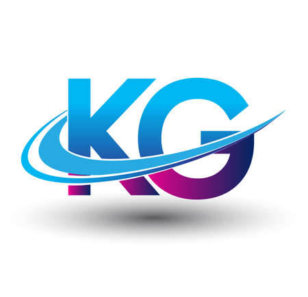 initial letter KG logotype company name colored blue and magenta swoosh design. vector logo for business and company identity.