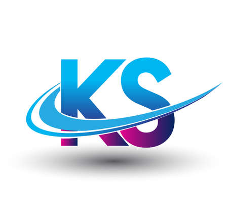 initial letter KS logotype company name colored blue and magenta swoosh design. vector logo for business and company identity.