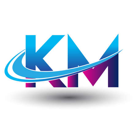 initial letter KM logotype company name colored blue and magenta swoosh design. vector logo for business and company identity.