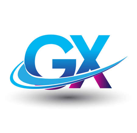 initial letter GX logotype company name colored blue and magenta swoosh design. vector logo for business and company identity. Logó