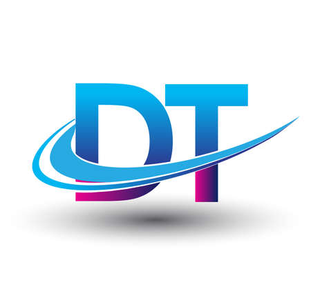 initial letter DT logotype company name colored blue and magenta swoosh design. vector logo for business and company identity.