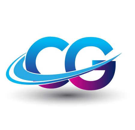 initial letter CG logotype company name colored blue and magenta swoosh design. vector logo for business and company identity.
