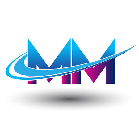 initial letter MM logotype company name colored blue and magenta swoosh design. vector logo for business and company identity.