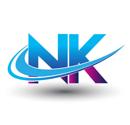 initial letter NK company name colored blue and magenta swoosh design. vector   for business and company identity.