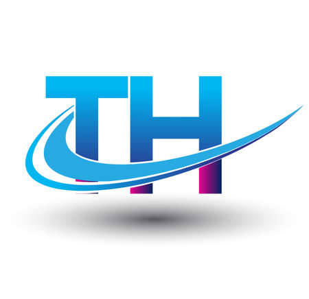 initial letter TH logotype company name colored blue and magenta swoosh design. vector logo for business and company identity.