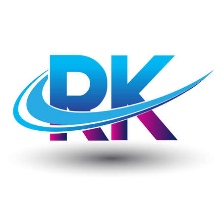 initial letter RK logotype company name colored blue and magenta swoosh design. vector logo for business and company identity.