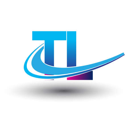 initial letter TL logotype company name colored blue and magenta swoosh design. vector logo for business and company identity.