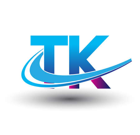 initial letter TK logotype company name colored blue and magenta swoosh design. vector logo for business and company identity.