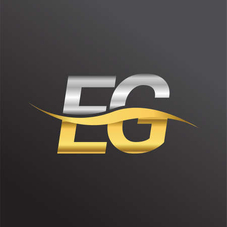 initial letter logo EG company name gold and silver color swoosh design. vector logotype for business and company identity.