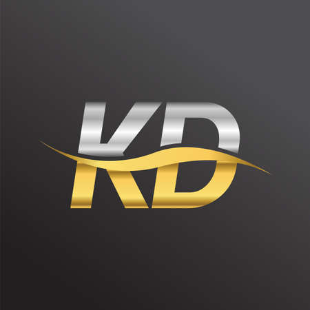 initial letter logo KD company name gold and silver color swoosh design. vector logotype for business and company identity. Logó