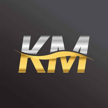 initial letter logo KM company name gold and silver color swoosh design. vector logotype for business and company identity.