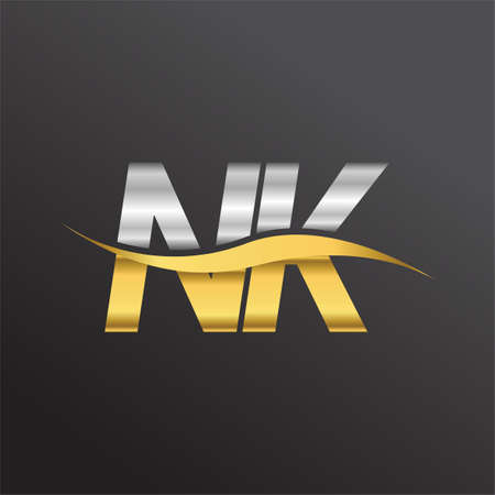 initial letter   NK company name gold and silver color swoosh design. vector   for business and company identity. Ilustrace