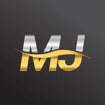 initial letter   MJ company name gold and silver color swoosh design. vector   for business and company identity.