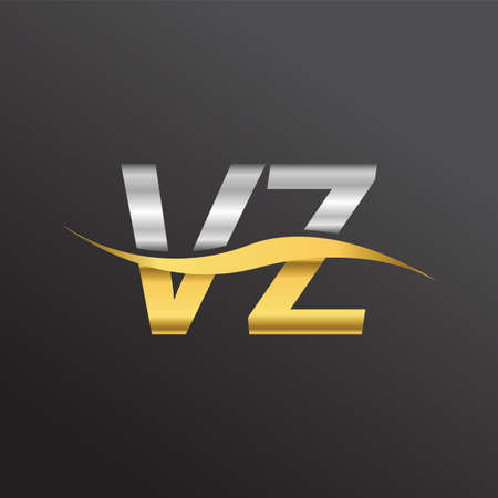 initial letter logo VZ company name gold and silver color swoosh design. vector logotype for business and company identity.