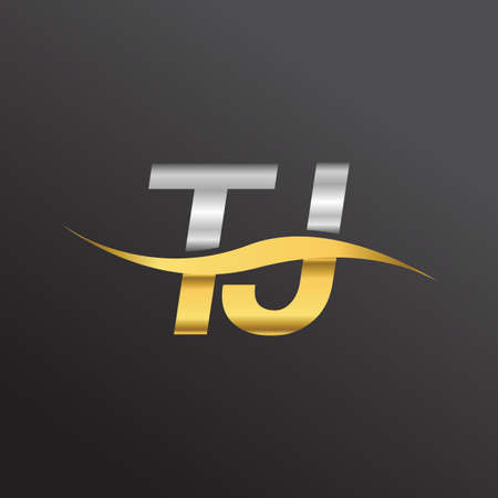 initial letter logo TJ company name gold and silver color swoosh design. vector logotype for business and company identity. Logó