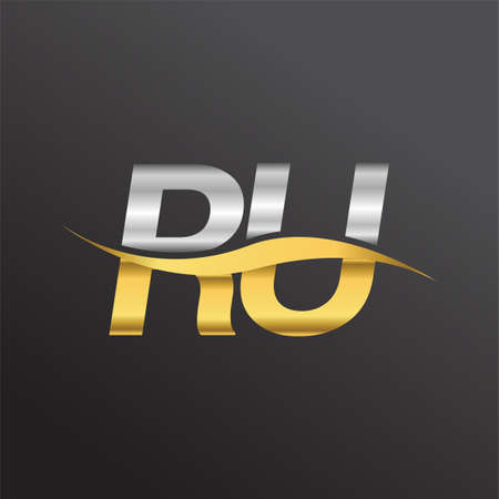 initial letter logo RU company name gold and silver color swoosh design. vector logotype for business and company identity.