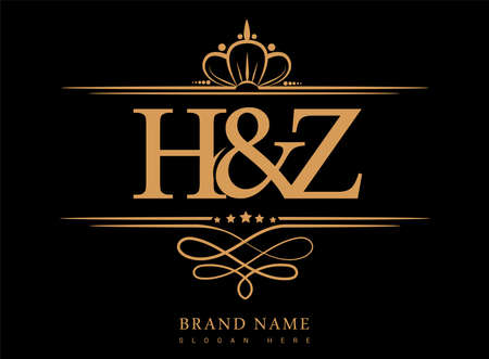 HZ Initial, Ampersand initial gold with crown and classic pattern.