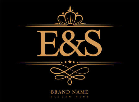 ES Initial logo, Ampersand initial logo gold with crown and classic pattern.