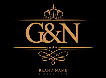 GN Initial logo, Ampersand initial logo gold with crown and classic pattern.