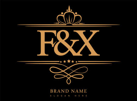 FX Initial logo, Ampersand initial logo gold with crown and classic pattern. 矢量图像