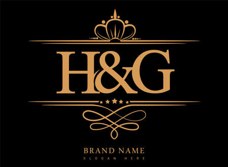 HG Initial logo, Ampersand initial logo gold with crown and classic pattern.