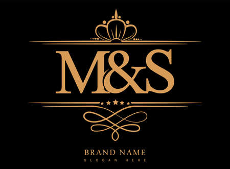 MS Initial logo, Ampersand initial logo gold with crown and classic pattern.