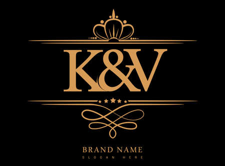 KV Initial logo, Ampersand initial logo gold with crown and classic pattern.