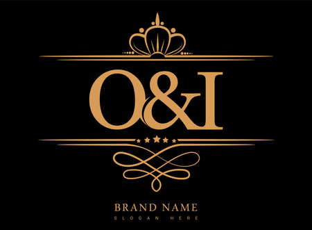 OI Initial logo, Ampersand initial logo gold with crown and classic pattern.
